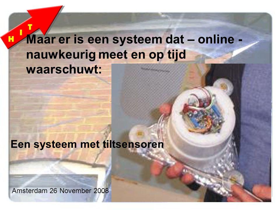 Amsterdam 26 November 2008 Maar er is een systeem dat – online - nauwkeurig meet en op tijd waarschuwt: Een systeem met tiltsensoren