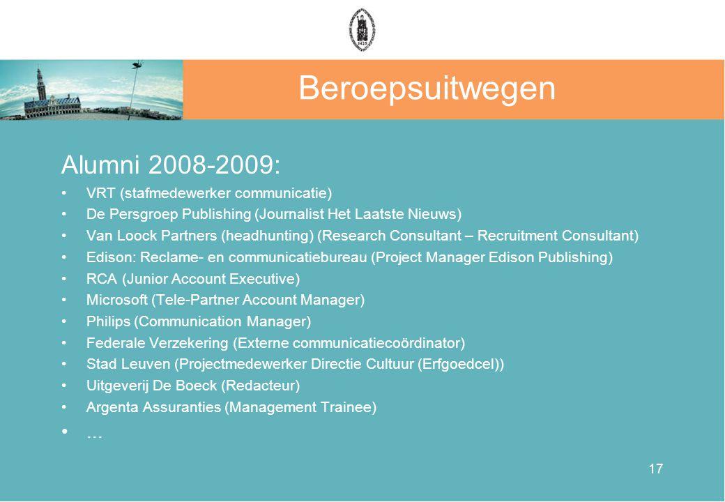 Beroepsuitwegen Alumni 2008-2009: •VRT (stafmedewerker communicatie) •De Persgroep Publishing (Journalist Het Laatste Nieuws) •Van Loock Partners (hea