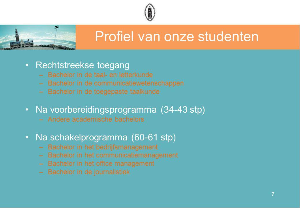 7 Profiel van onze studenten •Rechtstreekse toegang –Bachelor in de taal- en letterkunde –Bachelor in de communicatiewetenschappen –Bachelor in de toe
