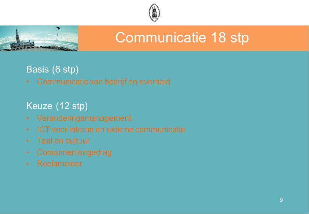 9 Communicatie 18 stp Basis (6 stp) •Communicatie van bedrijf en overheid Keuze (12 stp) •Veranderingsmanagement •ICT voor interne en externe communic