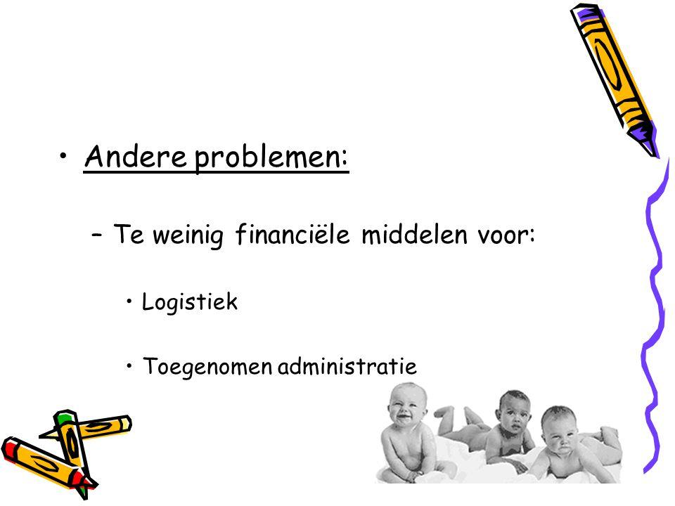 •Andere problemen: –Te weinig financiële middelen voor: •Logistiek •Toegenomen administratie
