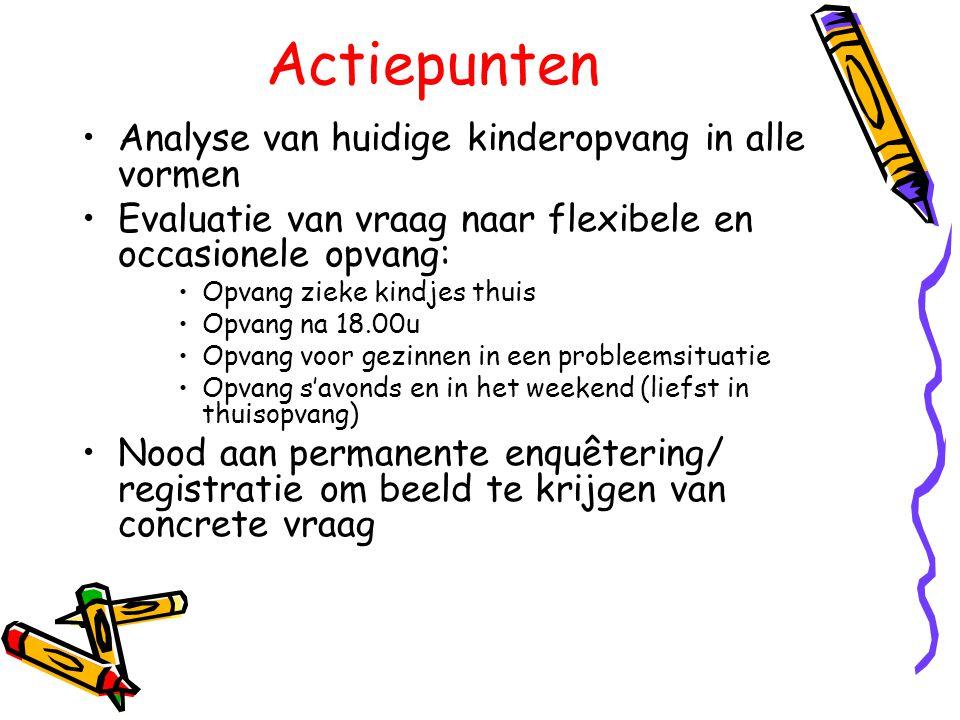 Actiepunten •Analyse van huidige kinderopvang in alle vormen •Evaluatie van vraag naar flexibele en occasionele opvang: •Opvang zieke kindjes thuis •O