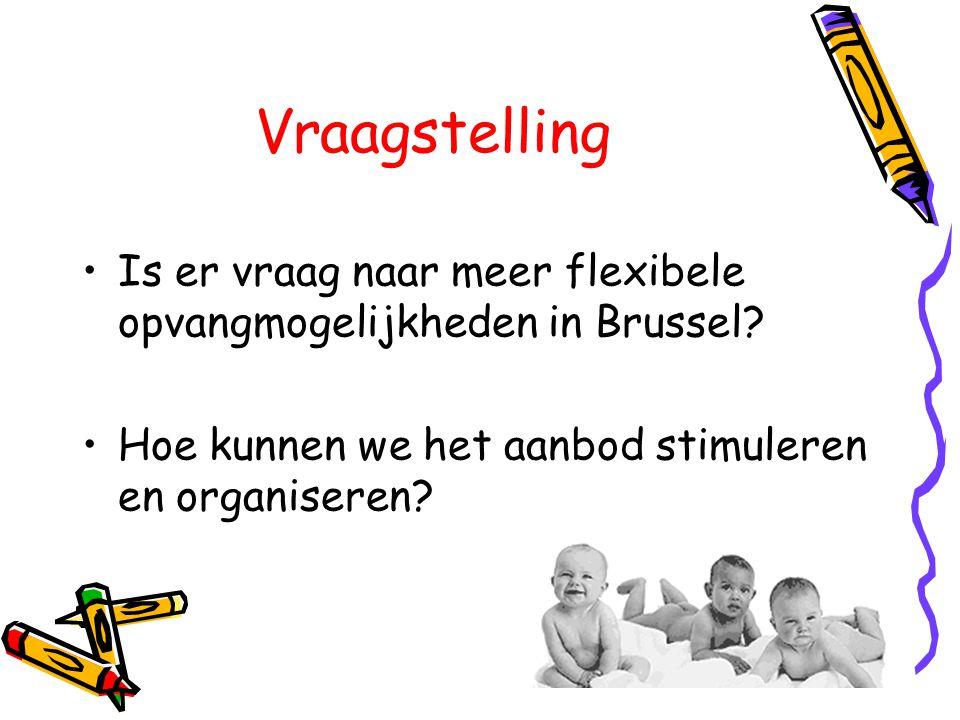 Vraagstelling •Is er vraag naar meer flexibele opvangmogelijkheden in Brussel? •Hoe kunnen we het aanbod stimuleren en organiseren?