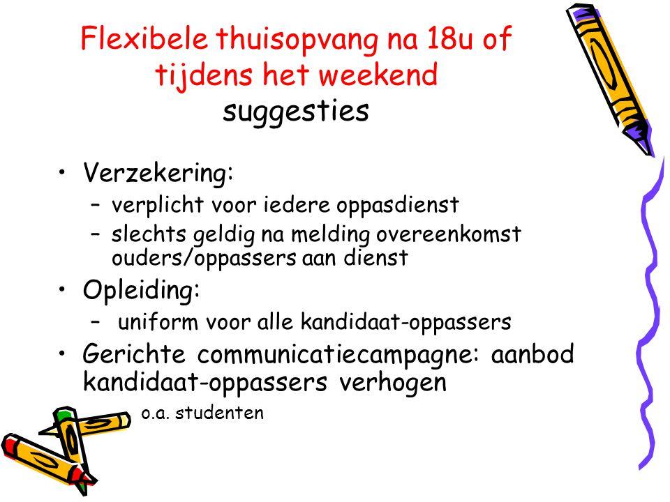 Flexibele thuisopvang na 18u of tijdens het weekend suggesties •Verzekering: –verplicht voor iedere oppasdienst –slechts geldig na melding overeenkoms