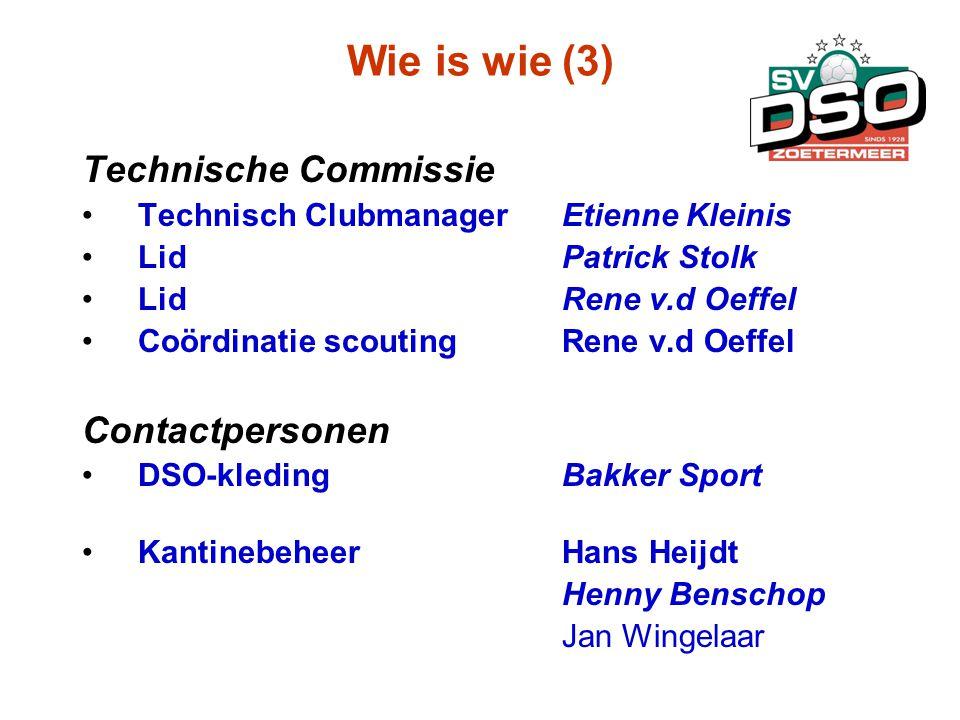 Wie is wie (3) Technische Commissie •Technisch ClubmanagerEtienne Kleinis •LidPatrick Stolk •LidRene v.d Oeffel •Coördinatie scoutingRene v.d Oeffel C