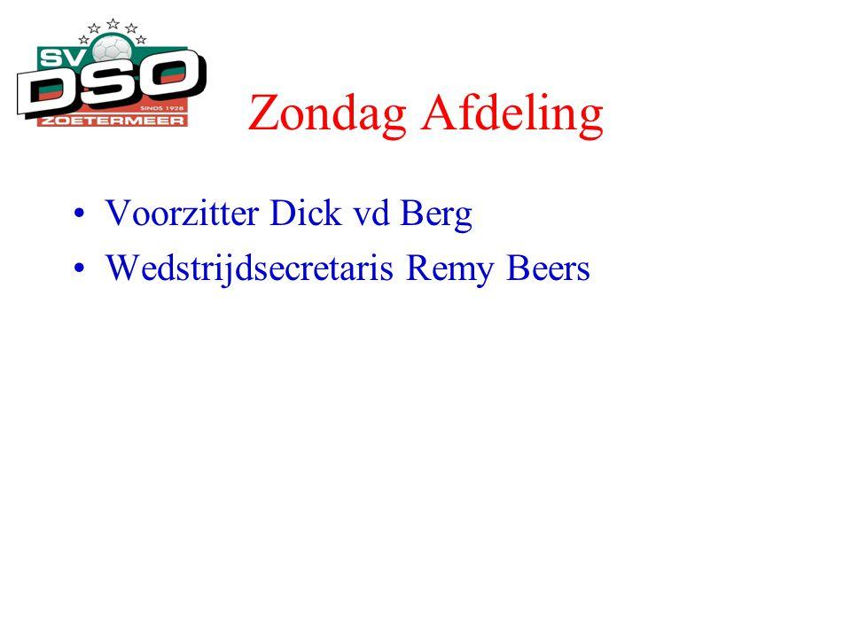 Zondag Afdeling •Voorzitter Dick vd Berg •Wedstrijdsecretaris Remy Beers