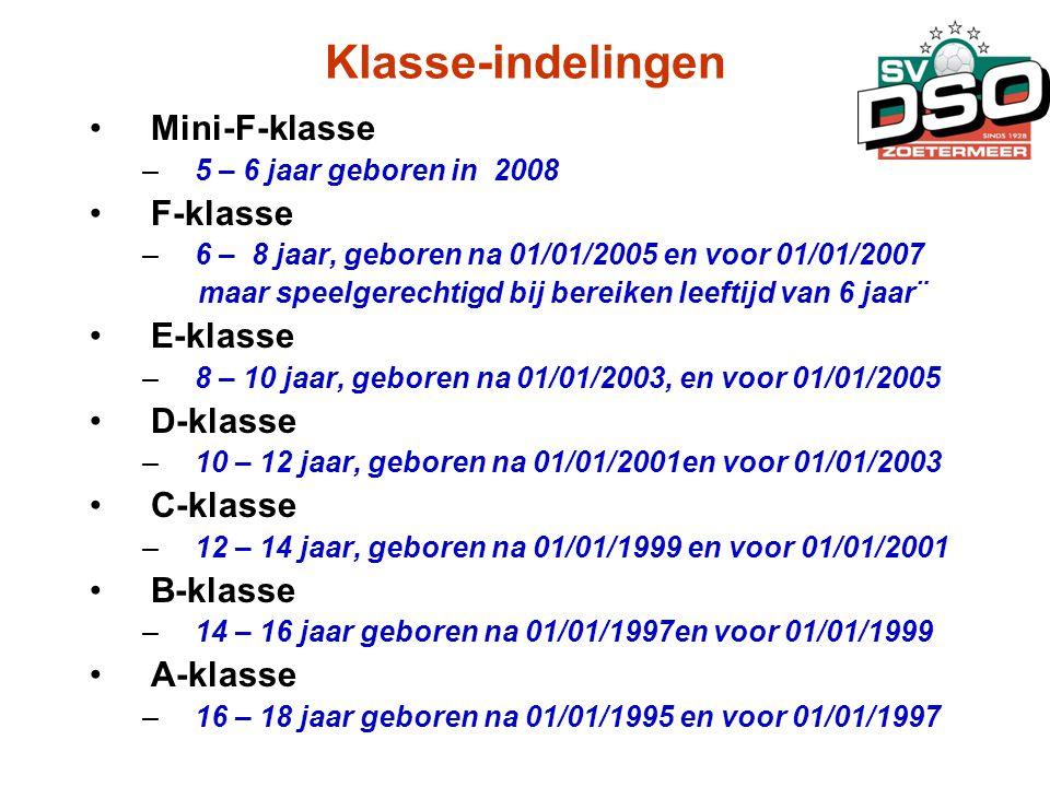 Klasse-indelingen •Mini-F-klasse –5 – 6 jaar geboren in 2008 •F-klasse –6 – 8 jaar, geboren na 01/01/2005 en voor 01/01/2007 maar speelgerechtigd bij