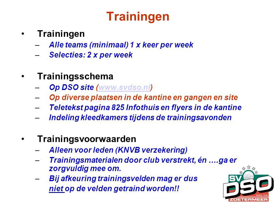 Trainingen •Trainingen –Alle teams (minimaal) 1 x keer per week –Selecties: 2 x per week •Trainingsschema –Op DSO site (www.svdso.nl)www.svdso.nl –Op