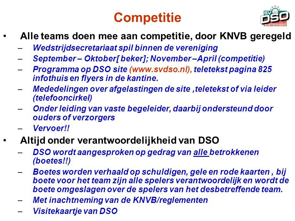 Competitie •Alle teams doen mee aan competitie, door KNVB geregeld –Wedstrijdsecretariaat spil binnen de vereniging –September – Oktober[ beker]; Nove