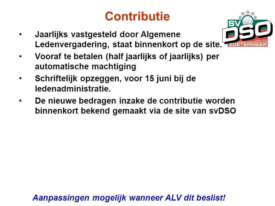 Contributie •Jaarlijks vastgesteld door Algemene Ledenvergadering, staat binnenkort op de site. •Vooraf te betalen (half jaarlijks of jaarlijks) per a