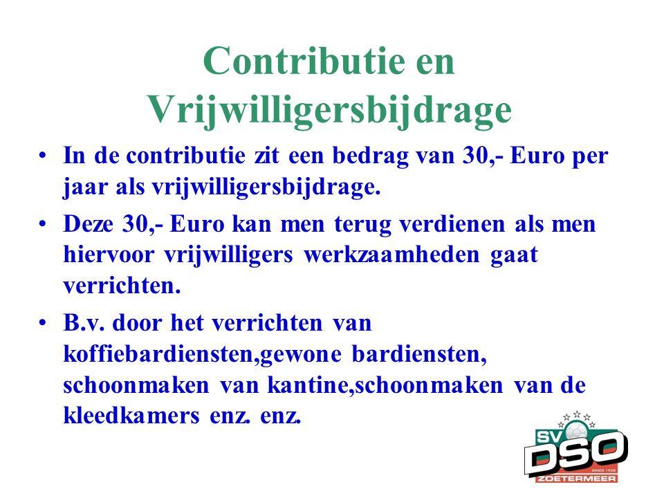 Contributie en Vrijwilligersbijdrage •In de contributie zit een bedrag van 30,- Euro per jaar als vrijwilligersbijdrage. •Deze 30,- Euro kan men terug