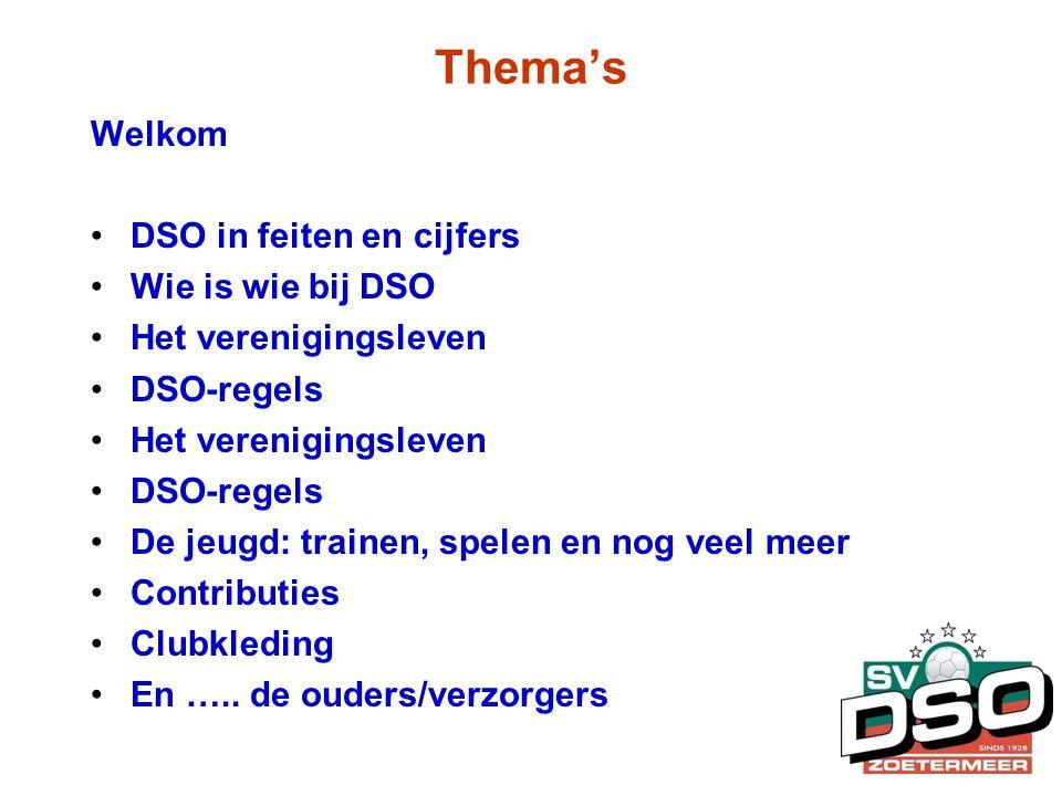 Thema's Welkom •DSO in feiten en cijfers •Wie is wie bij DSO •Het verenigingsleven •DSO-regels •Het verenigingsleven •DSO-regels •De jeugd: trainen, s