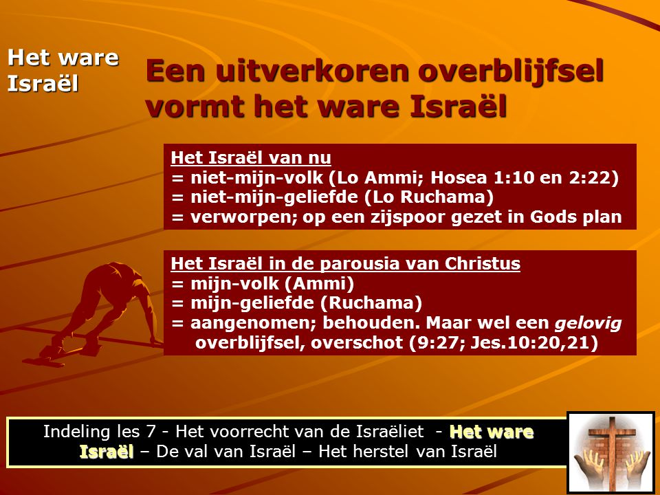 Het Israël van nu = niet-mijn-volk (Lo Ammi; Hosea 1:10 en 2:22) = niet-mijn-geliefde (Lo Ruchama) = verworpen; op een zijspoor gezet in Gods plan Het