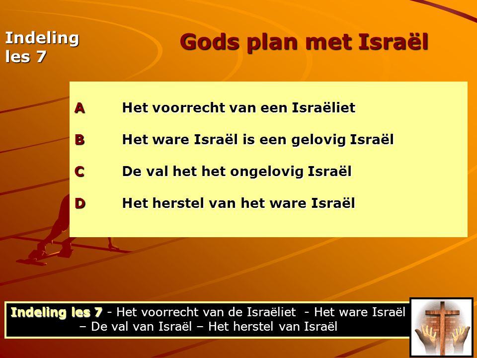 De verdeling van hoofdstuk 11 (a) De omvang van Israëls verwerping (11:1-10) - gedeeltelijk (b) Het doel van Israëls verwerping (11:11-24) - dat het heil tot de heidenen zou komen om hen tot jaloezie op te wekken (c) De periode van Israëls verwerping (11:25-32) - Tijdelijk, totdat de volheid der heidenen ingaat… Het herstel van Israël Indeling les 7 - Het voorrecht van de Israëliet - Het ware Israël – De val van Israël – Het herstel van Israël Het herstel van Israël Het herstel van het ware Israël