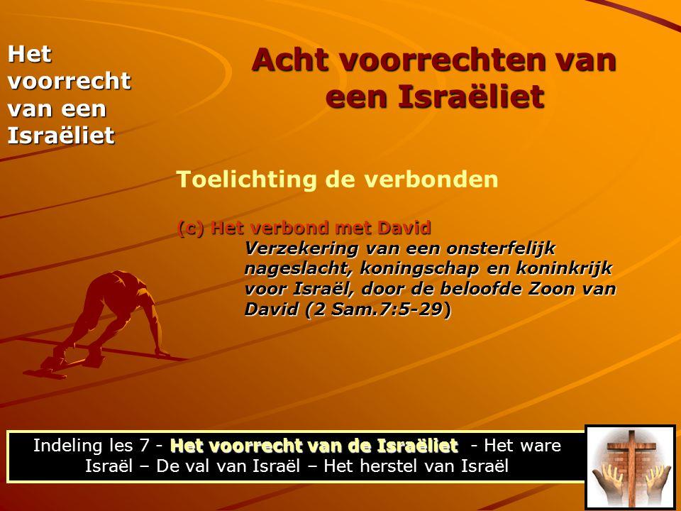 (c) Het verbond met David Verzekering van een onsterfelijk nageslacht, koningschap en koninkrijk voor Israël, door de beloofde Zoon van David (2 Sam.7