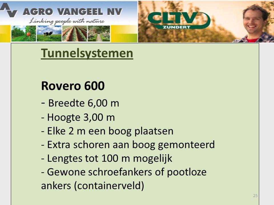 Tunnelsystemen Rovero 600 - Breedte 6,00 m - Hoogte 3,00 m - Elke 2 m een boog plaatsen - Extra schoren aan boog gemonteerd - Lengtes tot 100 m mogelijk - Gewone schroefankers of pootloze ankers (containerveld) 25