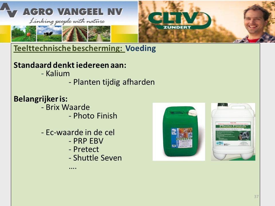 Teelttechnische bescherming: Voeding Standaard denkt iedereen aan: - Kalium - Planten tijdig afharden Belangrijker is: - Brix Waarde - Photo Finish - Ec-waarde in de cel - PRP EBV - Pretect - Shuttle Seven ….