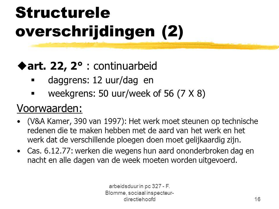 arbeidsduur in pc 327 - F. Blomme, sociaal inspecteur- directiehoofd16 Structurele overschrijdingen (2) uart. 22, 2° : continuarbeid  daggrens: 12 uu