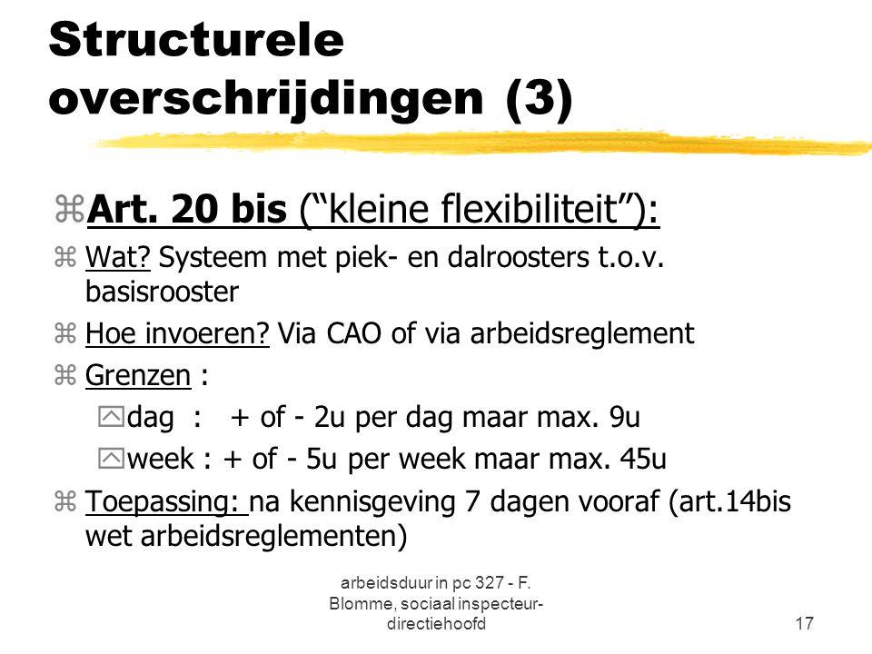 """arbeidsduur in pc 327 - F. Blomme, sociaal inspecteur- directiehoofd17 Structurele overschrijdingen (3) zArt. 20 bis (""""kleine flexibiliteit""""): zWat? S"""