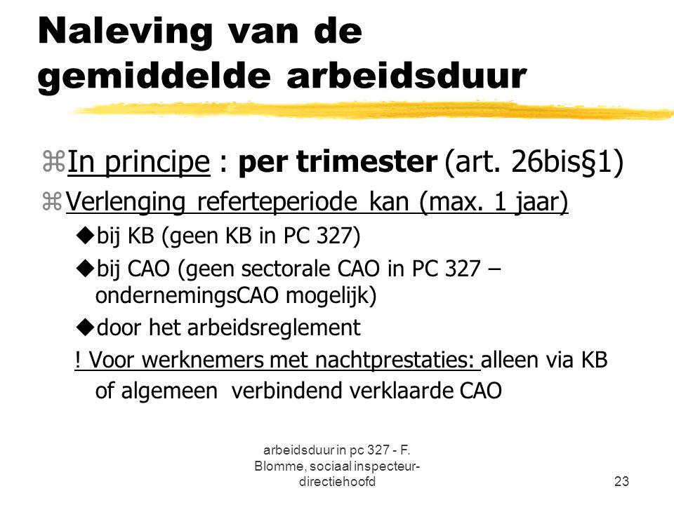 arbeidsduur in pc 327 - F. Blomme, sociaal inspecteur- directiehoofd23 Naleving van de gemiddelde arbeidsduur zIn principe : per trimester (art. 26bis