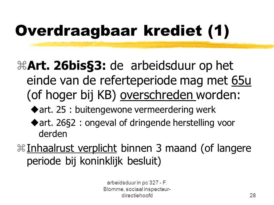 arbeidsduur in pc 327 - F. Blomme, sociaal inspecteur- directiehoofd28 Overdraagbaar krediet (1) zArt. 26bis§3: de arbeidsduur op het einde van de ref