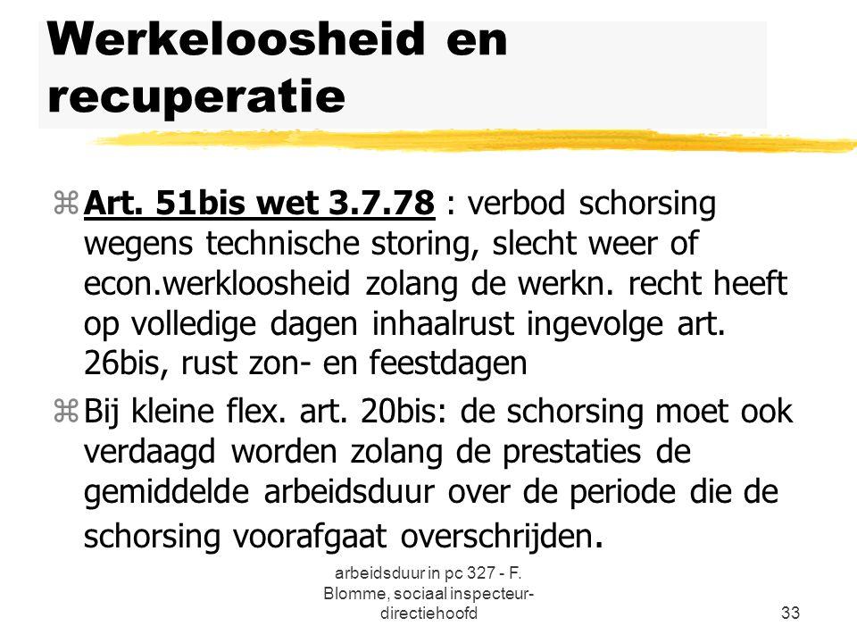 arbeidsduur in pc 327 - F. Blomme, sociaal inspecteur- directiehoofd33 Werkeloosheid en recuperatie zArt. 51bis wet 3.7.78 : verbod schorsing wegens t