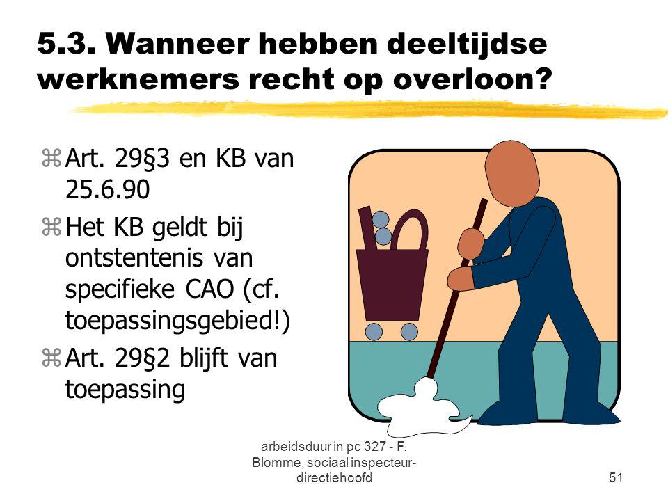 arbeidsduur in pc 327 - F. Blomme, sociaal inspecteur- directiehoofd51 5.3. Wanneer hebben deeltijdse werknemers recht op overloon? zArt. 29§3 en KB v
