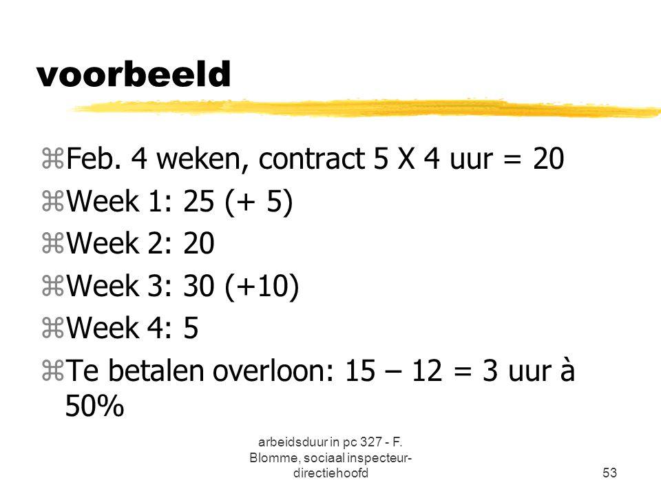 arbeidsduur in pc 327 - F. Blomme, sociaal inspecteur- directiehoofd53 voorbeeld zFeb. 4 weken, contract 5 X 4 uur = 20 zWeek 1: 25 (+ 5) zWeek 2: 20