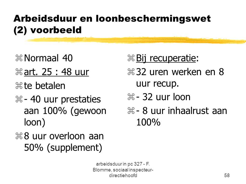 arbeidsduur in pc 327 - F. Blomme, sociaal inspecteur- directiehoofd58 Arbeidsduur en loonbeschermingswet (2) voorbeeld zNormaal 40 zart. 25 : 48 uur