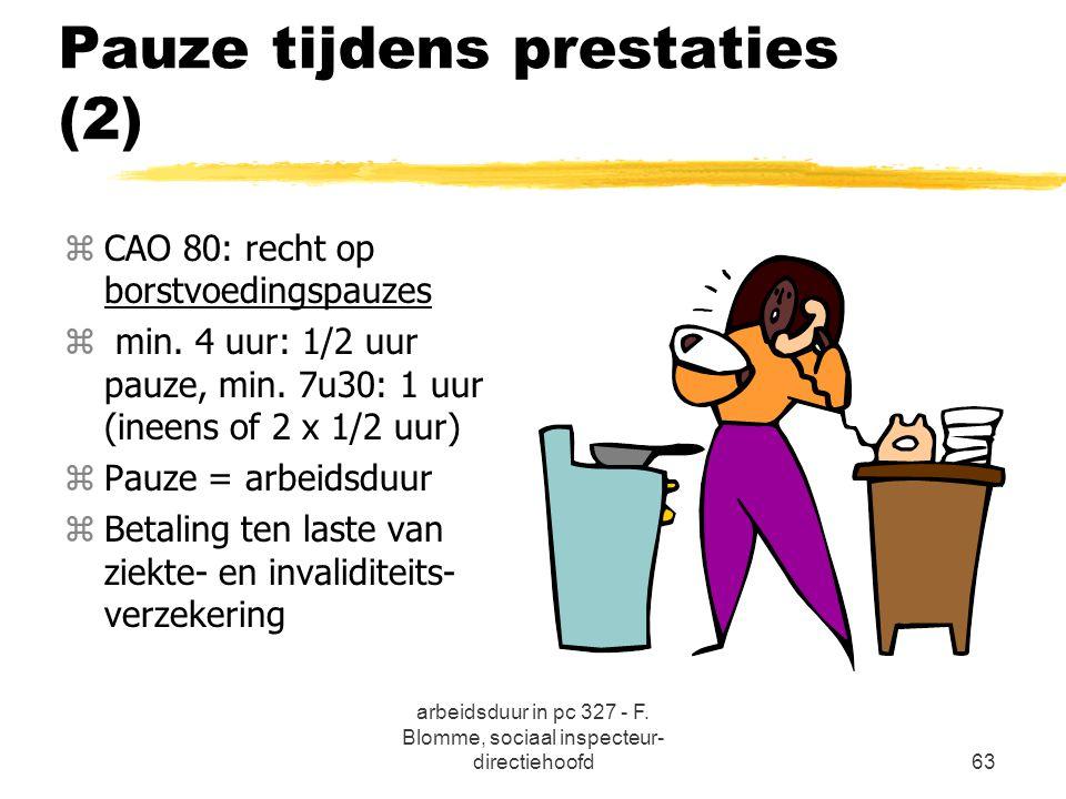 arbeidsduur in pc 327 - F. Blomme, sociaal inspecteur- directiehoofd63 Pauze tijdens prestaties (2) zCAO 80: recht op borstvoedingspauzes z min. 4 uur