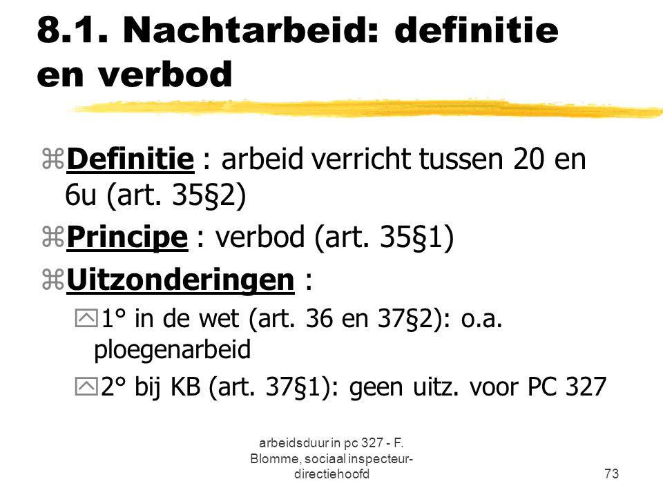 arbeidsduur in pc 327 - F. Blomme, sociaal inspecteur- directiehoofd73 8.1. Nachtarbeid: definitie en verbod zDefinitie : arbeid verricht tussen 20 en