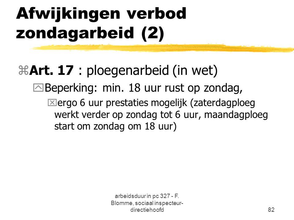 arbeidsduur in pc 327 - F. Blomme, sociaal inspecteur- directiehoofd82 Afwijkingen verbod zondagarbeid (2) zArt. 17 : ploegenarbeid (in wet) yBeperkin