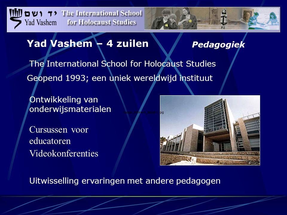 Pedagogiek The International School for Holocaust Studies Geopend 1993; een uniek wereldwijd instituut Uitwisselling ervaringen met andere pedagogen Ontwikkeling van onderwijsmaterialen Cursussen voor educatoren Videokonferenties Yad Vashem – 4 zuilen
