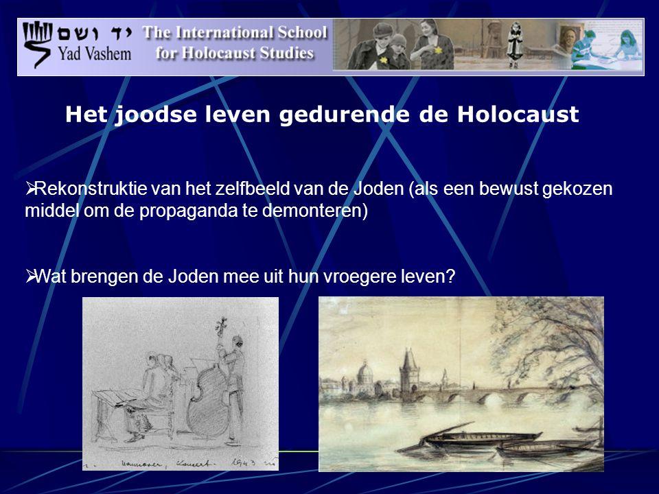 Het joodse leven gedurende de Holocaust  Rekonstruktie van het zelfbeeld van de Joden (als een bewust gekozen middel om de propaganda te demonteren)  Wat brengen de Joden mee uit hun vroegere leven