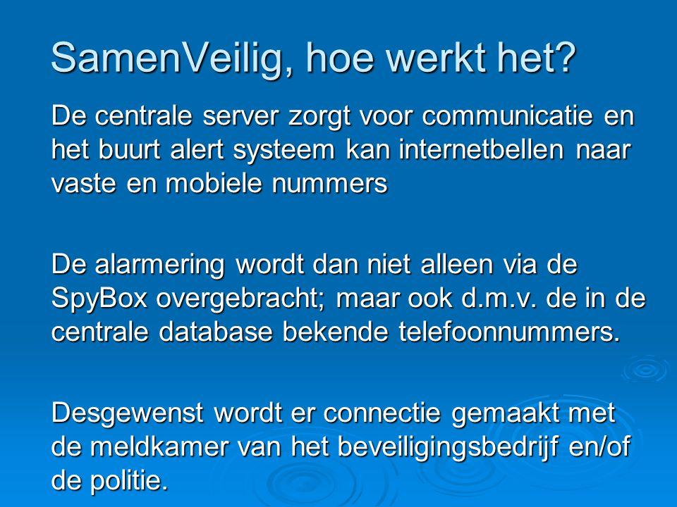 De centrale server zorgt voor communicatie en het buurt alert systeem kan internetbellen naar vaste en mobiele nummers De alarmering wordt dan niet al