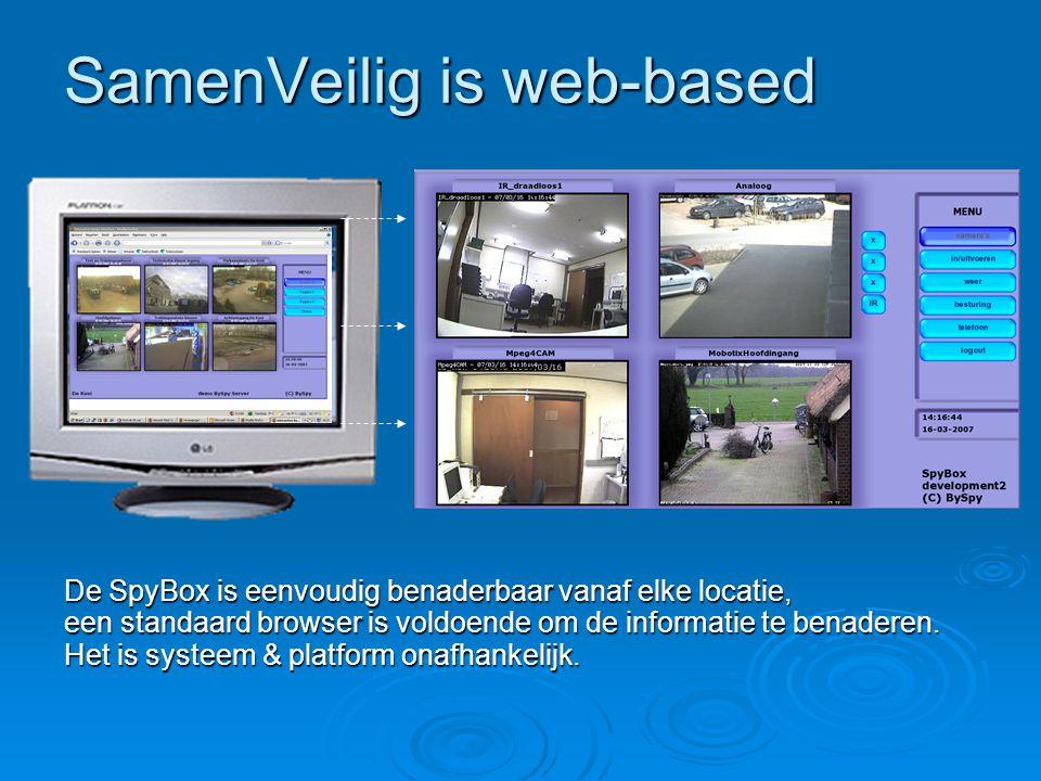 SamenVeilig is web-based De SpyBox is eenvoudig benaderbaar vanaf elke locatie, een standaard browser is voldoende om de informatie te benaderen. Het