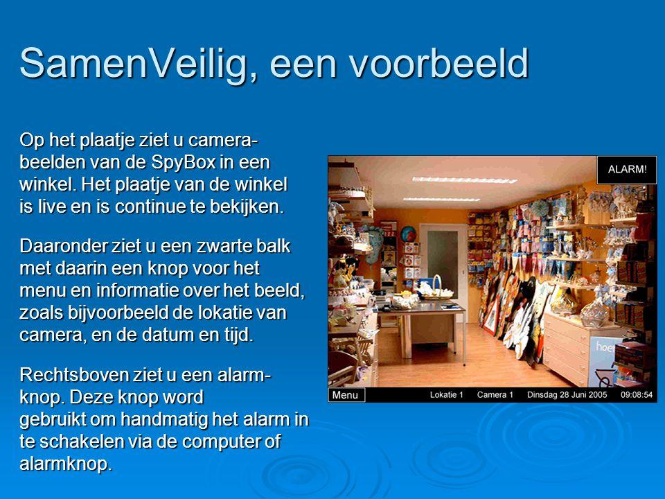 SamenVeilig, een voorbeeld Op het plaatje ziet u camera- beelden van de SpyBox in een winkel. Het plaatje van de winkel is live en is continue te beki