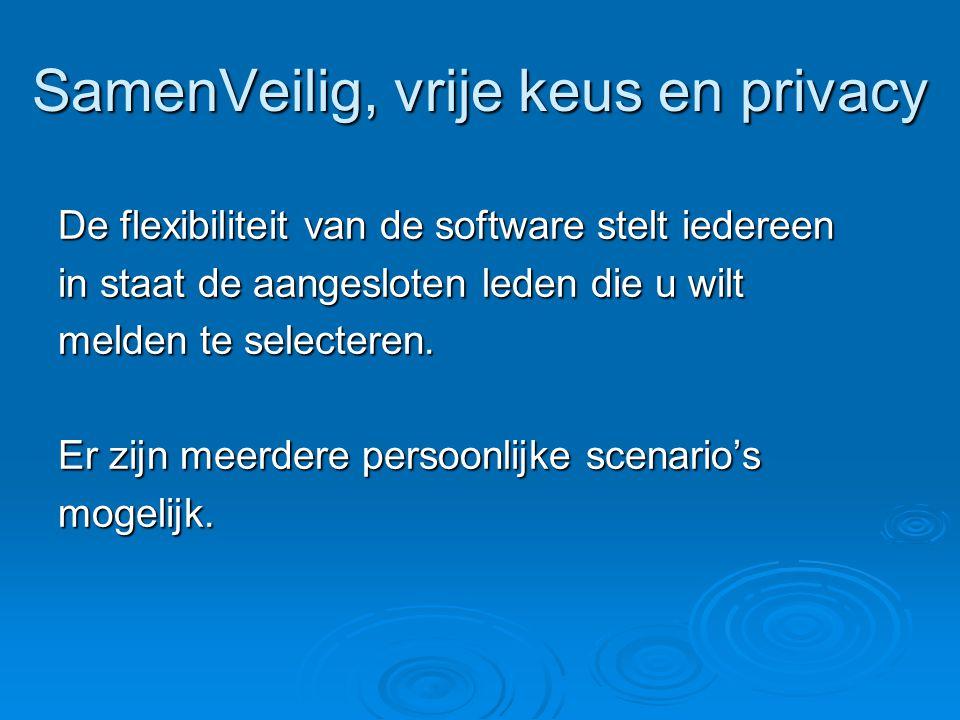 SamenVeilig, vrije keus en privacy De flexibiliteit van de software stelt iedereen in staat de aangesloten leden die u wilt melden te selecteren. Er z
