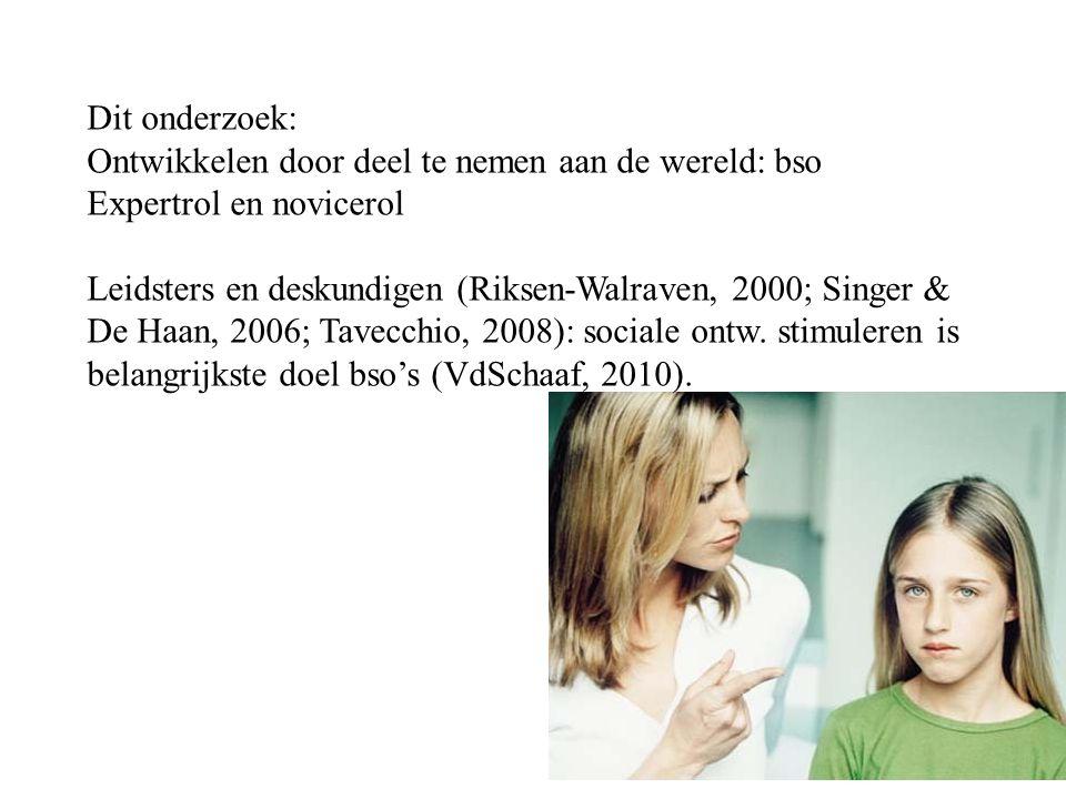 Dit onderzoek: Ontwikkelen door deel te nemen aan de wereld: bso Expertrol en novicerol Leidsters en deskundigen (Riksen-Walraven, 2000; Singer & De Haan, 2006; Tavecchio, 2008): sociale ontw.