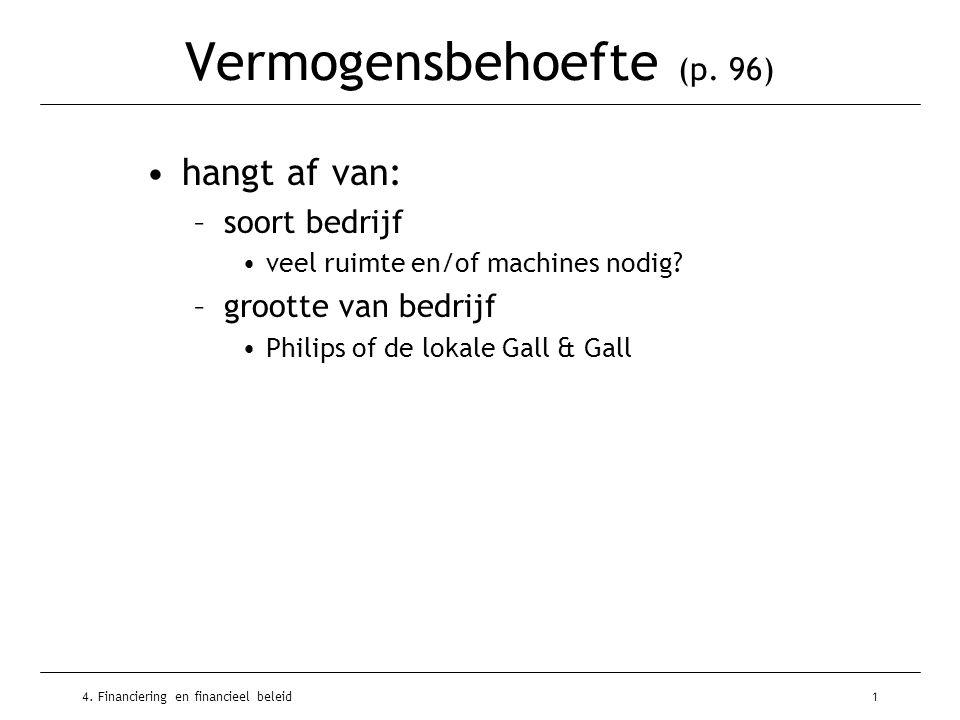 4. Financiering en financieel beleid1 Vermogensbehoefte (p. 96) •hangt af van: –soort bedrijf •veel ruimte en/of machines nodig? –grootte van bedrijf