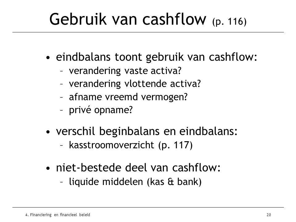 4. Financiering en financieel beleid20 Gebruik van cashflow (p. 116) •eindbalans toont gebruik van cashflow: –verandering vaste activa? –verandering v