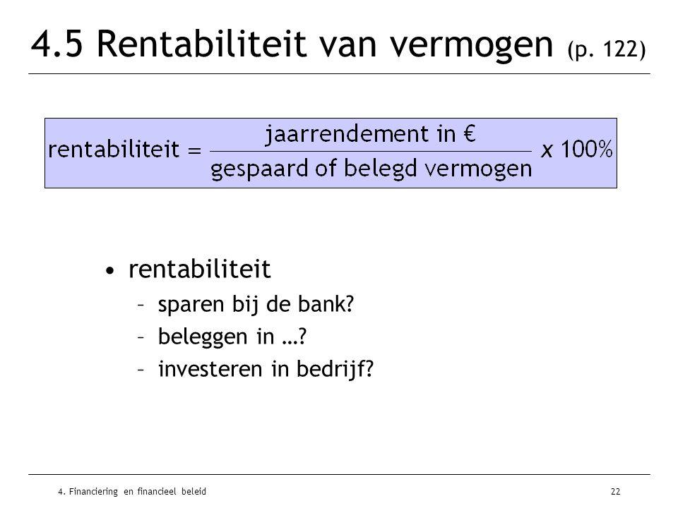 4. Financiering en financieel beleid22 4.5 Rentabiliteit van vermogen (p. 122) •rentabiliteit –sparen bij de bank? –beleggen in …? –investeren in bedr