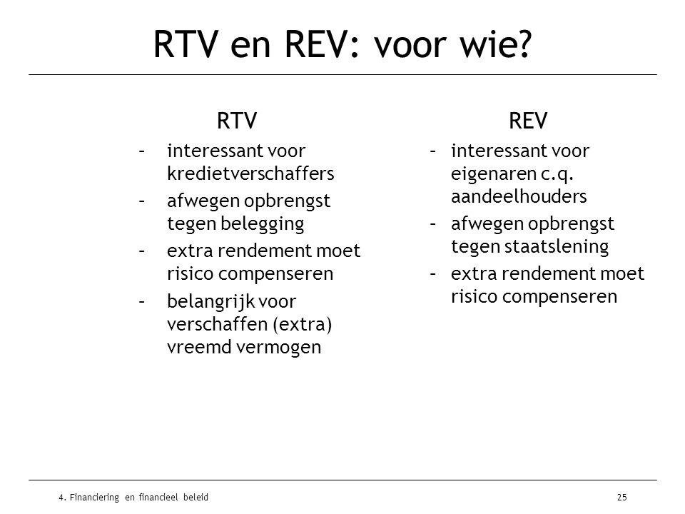 4. Financiering en financieel beleid25 RTV en REV: voor wie? RTV –interessant voor kredietverschaffers –afwegen opbrengst tegen belegging –extra rende