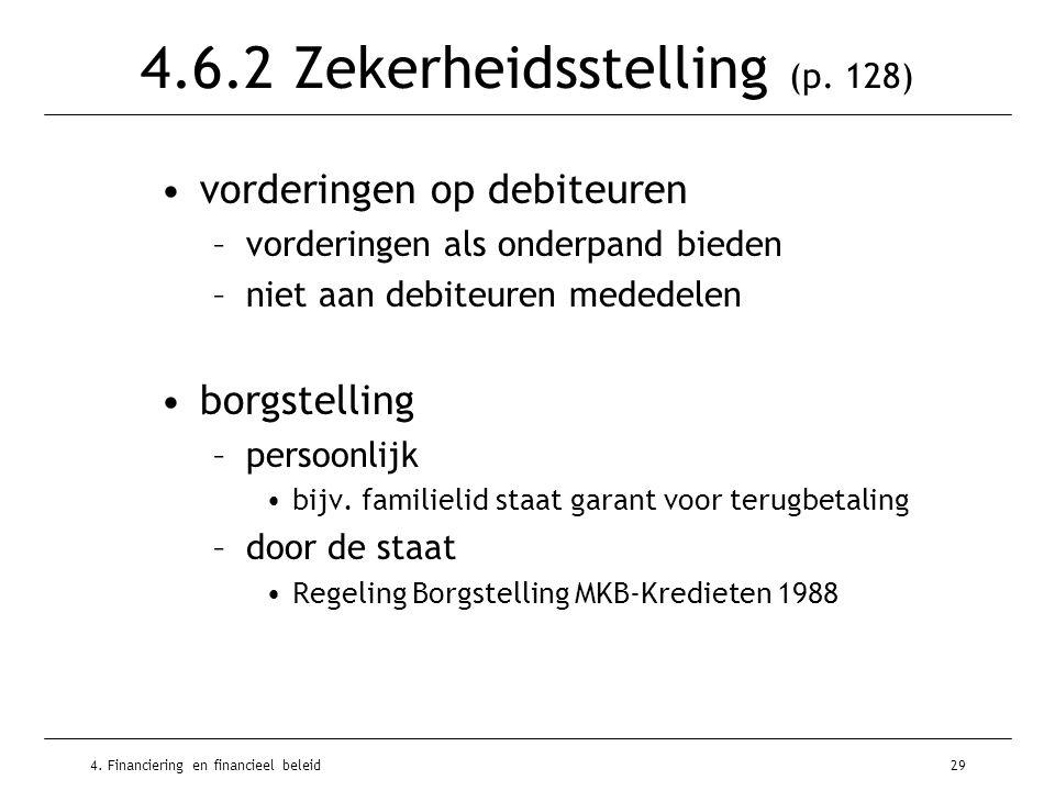 4. Financiering en financieel beleid29 4.6.2 Zekerheidsstelling (p. 128) •vorderingen op debiteuren –vorderingen als onderpand bieden –niet aan debite