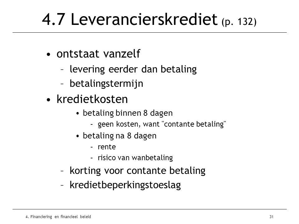 4. Financiering en financieel beleid31 4.7 Leverancierskrediet (p.