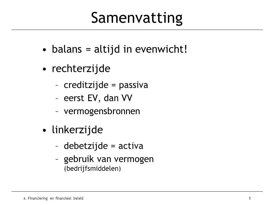 4. Financiering en financieel beleid5 Samenvatting •balans = altijd in evenwicht! •rechterzijde –creditzijde = passiva –eerst EV, dan VV –vermogensbro