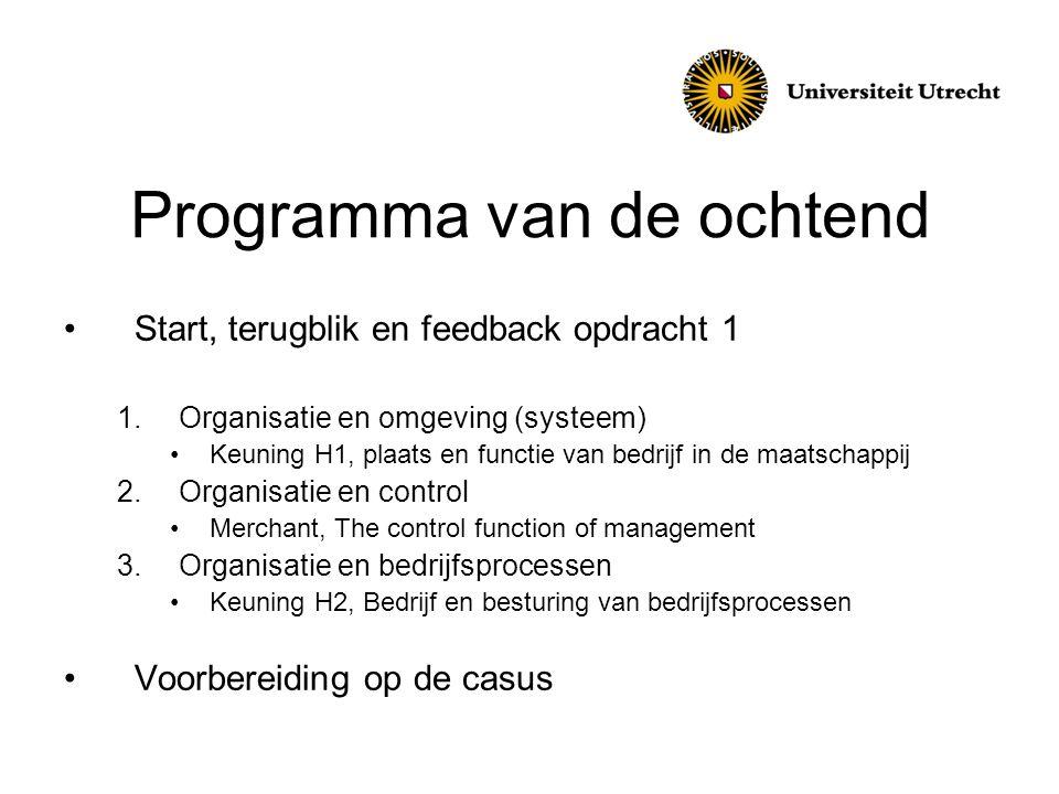 Programma van de ochtend •Start, terugblik en feedback opdracht 1 1.Organisatie en omgeving (systeem) •Keuning H1, plaats en functie van bedrijf in de