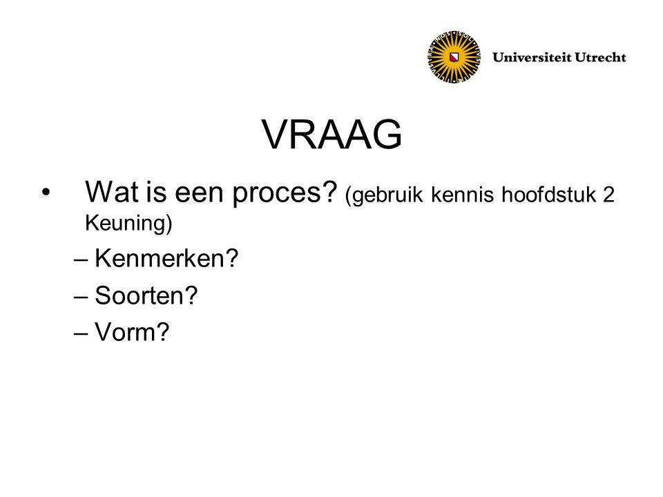 VRAAG •Wat is een proces? (gebruik kennis hoofdstuk 2 Keuning) –Kenmerken? –Soorten? –Vorm?