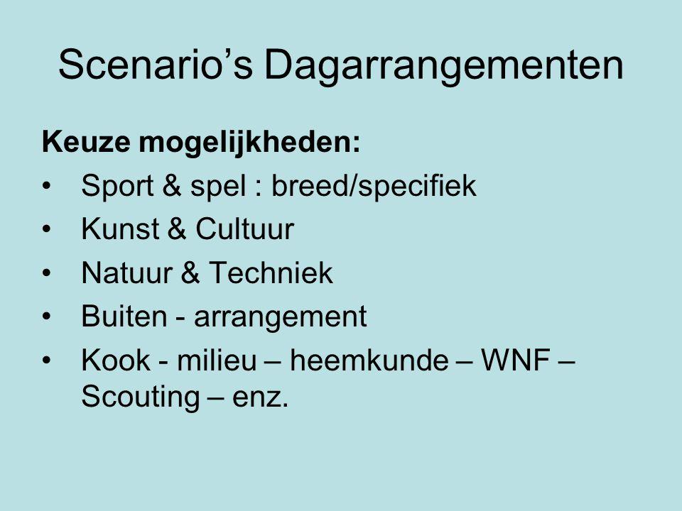 Scenario's Dagarrangementen Keuze mogelijkheden: •Sport & spel : breed/specifiek •Kunst & Cultuur •Natuur & Techniek •Buiten - arrangement •Kook - mil