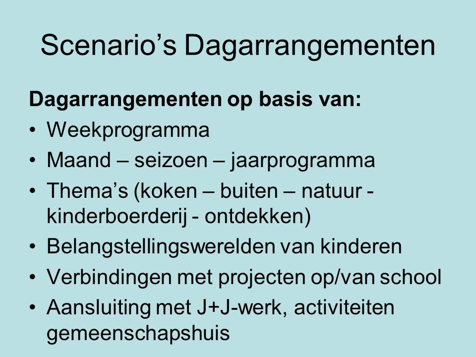 Scenario's Dagarrangementen Dagarrangementen op basis van: •Weekprogramma •Maand – seizoen – jaarprogramma •Thema's (koken – buiten – natuur - kinderb